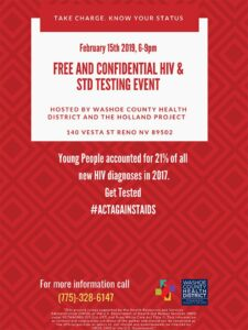 Washoe County Health District's Free and Confidential HIV & STD Testing @ Holland Project